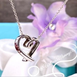 Tiffany & Co. Paloma Picasso Red Enamel LOVE Heart Necklace in Sterling Silver